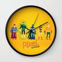 justice league Wall Clocks featuring Justice League of America - Pixel Nostalgia by Boo! Studio