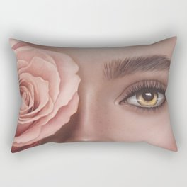 Woman portrait. Pink flowers. Big portrait. Yellow eyes. Fashion illustration. Digital painting Rectangular Pillow