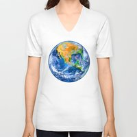 earth V-neck T-shirts featuring Earth by Marble Trouble