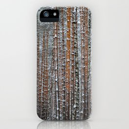 Close view of the winter pine tree forest iPhone Case