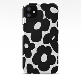 60s 70s Hippie Flowers Black iPhone Case