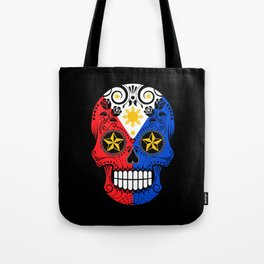 Sugar Skull with Roses and Flag of Philippines Tote Bag