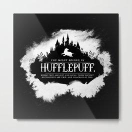 Hufflepuff B&W Metal Print