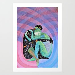 Space Earth Love Painting Nature Soul Mates Couple Wedding Art Tapestry (Infinite Love) Art Print