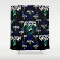 jaws Shower Curtains featuring jaws by pystali