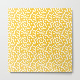 Yellow background with curves and dots. Metal Print