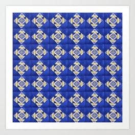 HOMEMADE BLUE SPANISH TILES PATTERN Art Print