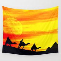 egyptian Wall Tapestries featuring Egyptian supermoon by Pirmin Nohr