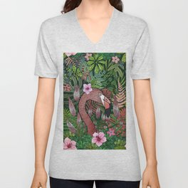 Florencia the Flamingo in her Forest Full of Florals Unisex V-Neck