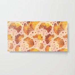 Ginkgo leaves. Vintage hand drawn illustration pattern Metal Print