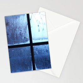 Winter Christmas Blue Window Stationery Cards