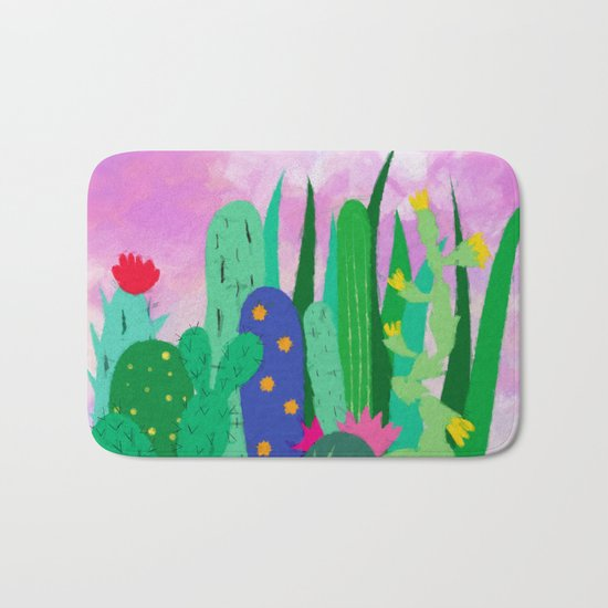 Painted cacti Bath Mat