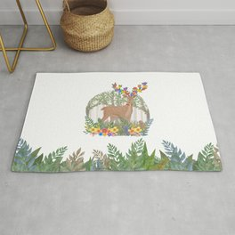 Deer in the forest. Rug
