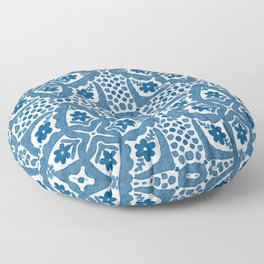 Indigo Blue Folk Art Dutch Delft Floor Pillow