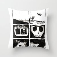 death Throw Pillows featuring Death by Lee Grace Illustration