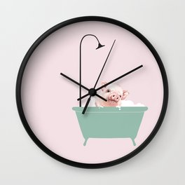 Baby Pink Pig Enjoying Bubble Bath Wall Clock