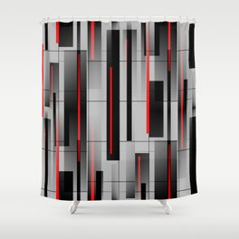 Off the Grid - Abstract - Gray, Black, Red Duschvorhang