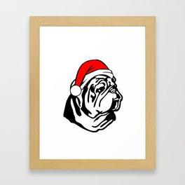 Bulldog with Christmas Santa Hat Framed Art Print