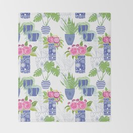 Chinoiserie Cactus Throw Blanket