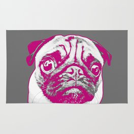 Sweet pug in pink and gray. Pop art style portrait. Rug