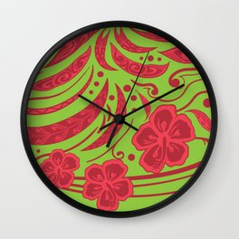 Samoan Polynesian Floral Wall Clock