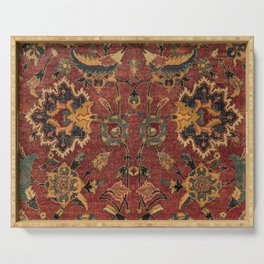 Flowery Boho Rug III // 17th Century Distressed Colorful Red Navy Blue Burlap Tan Ornate Accent Patt Serving Tray