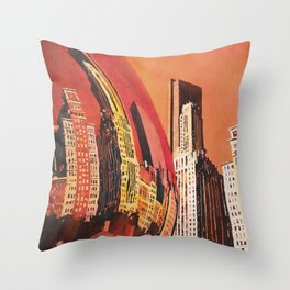 Cloud Gate (Chicago Bean) statue in Millennium Park in downtown Chicago, ILL at dusk. Throw Pillow