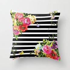 Stripes Floral Throw Pillow