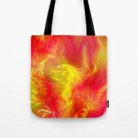 phoenix Tote Bags featuring Phoenix by Paula Belle Flores