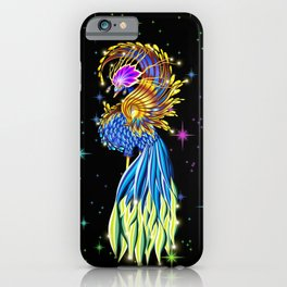 Blue and Golden Paradise Bird iPhone Case