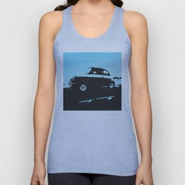 Fiat 500 classic, Light Blue on Black Unisex Tank Top
