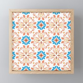 Shiny Happy Midcentury Style Pattern in Orange and Teal Framed Mini Art Print