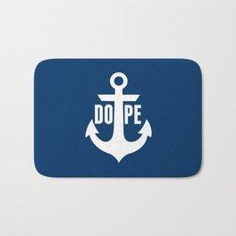 Nautical Anchor Cool Dope Navy Blue White Bath Mat