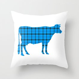 Cow: Light Blue Plaid Throw Pillow
