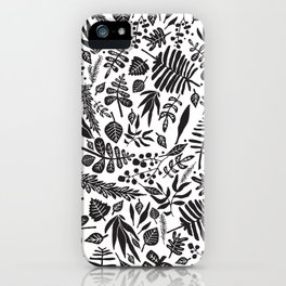 Black and white autumn leaves pattern iPhone Case