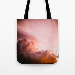 Beautiful Pink Orange Fluffy Sunset Clouds Cotton Candy Texture Sky Tote Bag