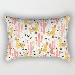 Yellow Llamas Red Cacti Rectangular Pillow