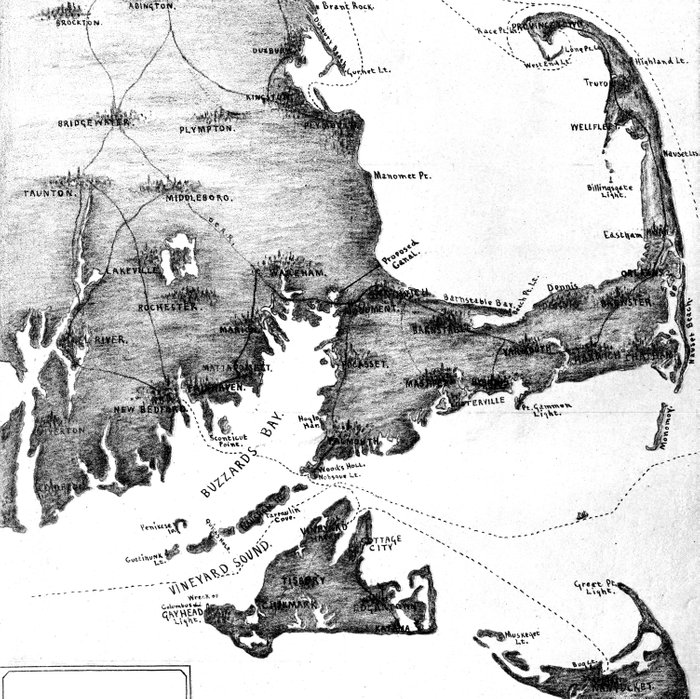 Vintage Map of Cape Cod (1885) BW Comforters