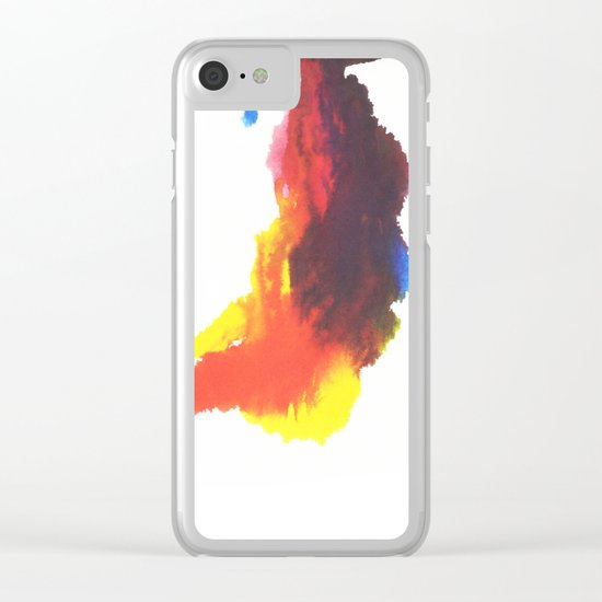 Yellow, Red, Blue, Purple Watercolor Plume on White Clear iPhone Case