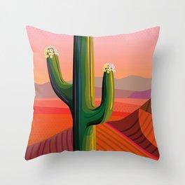 Flowering Saguaro Sonora Throw Pillow