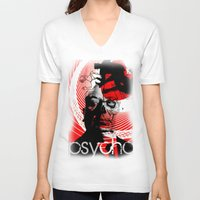 psycho V-neck T-shirts featuring psycho by RIGOLEONART