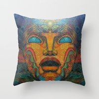 mandie manzano Throw Pillows featuring Beauty Within by Waelad Akadan