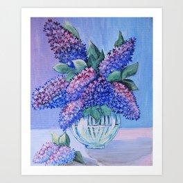 flowers in a glass vase . artwork Art Print