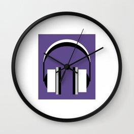 Headphones in Ultra Violet Wall Clock