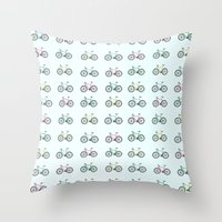 bicycles Throw Pillows featuring Bicycles by amyhartdesign