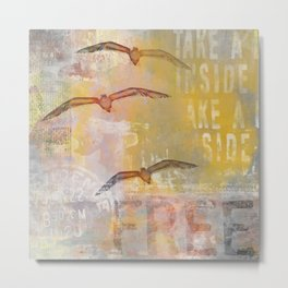 Free bird mixed media artwork Sea Gulls and Typography Metal Print