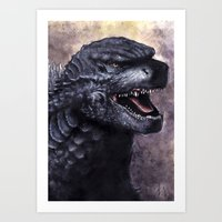 godzilla Art Prints featuring Godzilla by Denda Reloaded