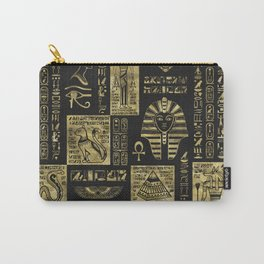 Egyptian  hieroglyphs and symbols gold on black leather Carry-All Pouch
