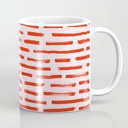 Pink Abstract Pattern Red Brushstrokes Handpainted  Coffee Mug