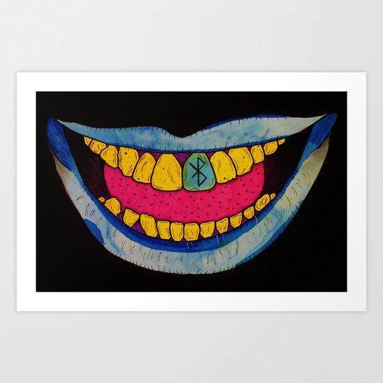 Blue Teeth Art Print